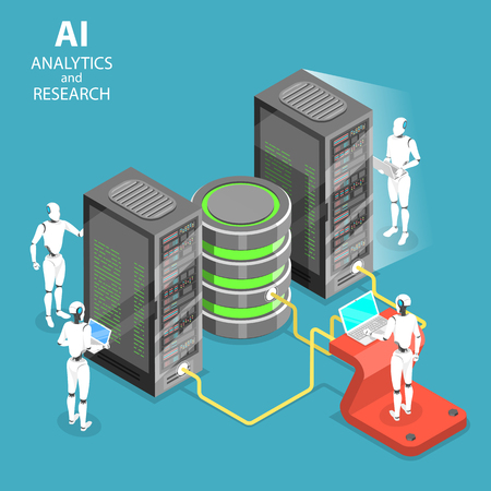 Concepto de vector plano isométrico de análisis e investigación de inteligencia artificial, integración de ai, big data.