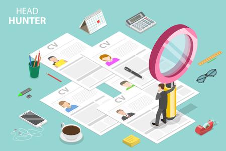 Concepto de vector plano isométrico de headhunting, reclutamiento, revisión del gerente de recursos humanos, búsqueda de empleados. Ilustración de vector