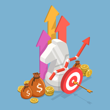 Isometric flat vector concept of business strategy, growth planning, financial goal.