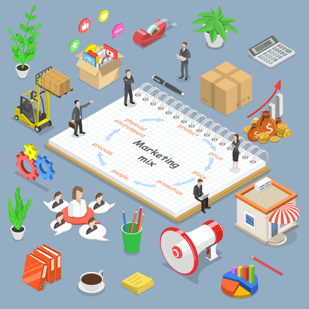 Concepto de vector plano isométrico de modelo de mezcla de marketing, estrategia de concepto de negocio. Ilustración de vector