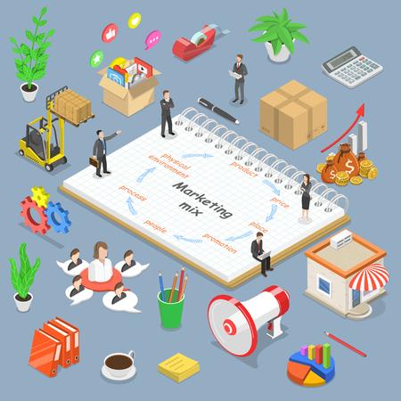 Concetto di vettore piatto isometrico del modello di marketing mix, strategia del concetto di business. Vettoriali