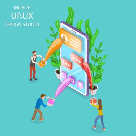 Isometric flat vector concept of UI and UX design studio, mobile app development, GUI design.