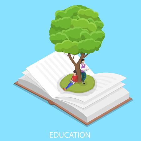 Flat isometric vector concept of online education, e-learning, webinar, live training.