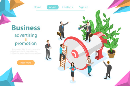 Isometric flat vector concept of business advertising, digital media marketing, web promotion.