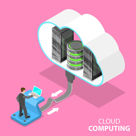 Cloud computing technology isometric flat vector concept. Illustration