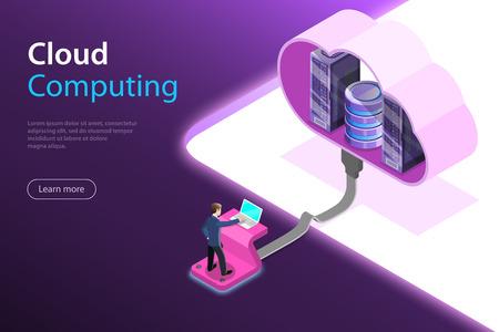 Izometryczny płaski wektor koncepcja technologii przetwarzania w chmurze, przechowywania danych i hostiung, dużych zbiorów danych. Ilustracje wektorowe