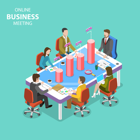 Online business meeting isometric flat vector concept. Illustration