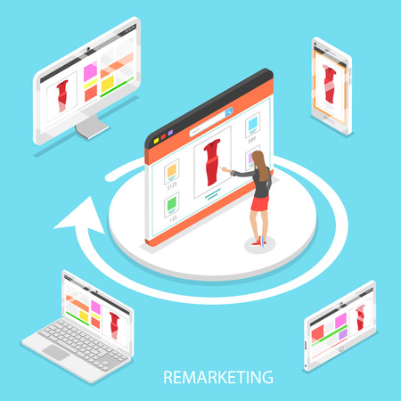 Isometric flat vector concept of marketing retargeting, behavioural remarketing, digital promotion campaign.