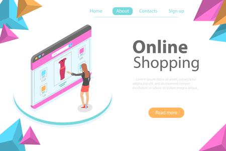 Flat isometric vector concept of online shopping, e-commerce, mobile store. Illustration