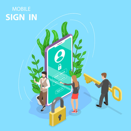 Isometric flat vector concept mobile sign up, login to account. Illustration