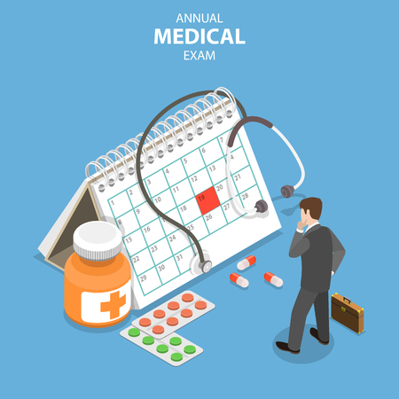 Isometric flat vector concept of annual medical exam, health checkup, medical services. Illustration