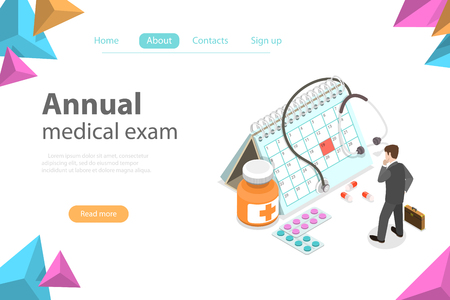 Isometric flat vector concept of Regual medical checkup, health exam, medical services.