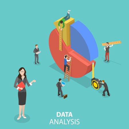 Flat isometric vector concept of business statistics and analytics, audit report, company performance analysis. Illustration