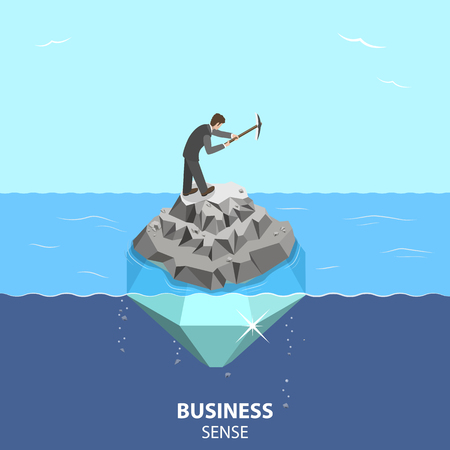 Business sense and strategy isometric flat vector concept.