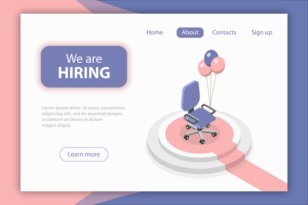 Flat isometric vector concept of employee hiring, open position, empty armchair, job recruiting.