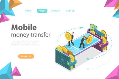 Concepto de vector plano isométrico de billetera móvil, transferencia de dinero, banca en línea, transacción financiera. Ilustración de vector