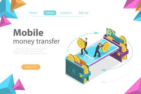 Izometryczny płaski wektor koncepcja portfela mobilnego, przelewu, bankowości internetowej, transakcji finansowych. Ilustracje wektorowe