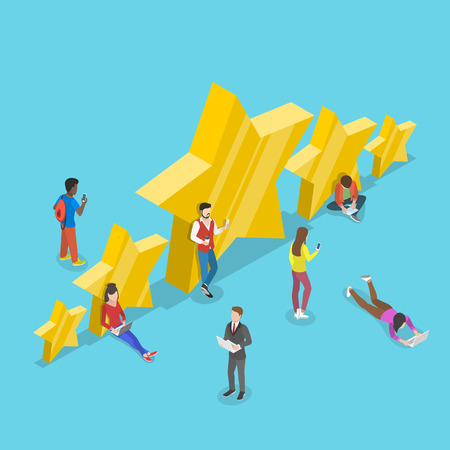 Flat isometric vector concept of five stars, best rating, customer feedback, positive review.
