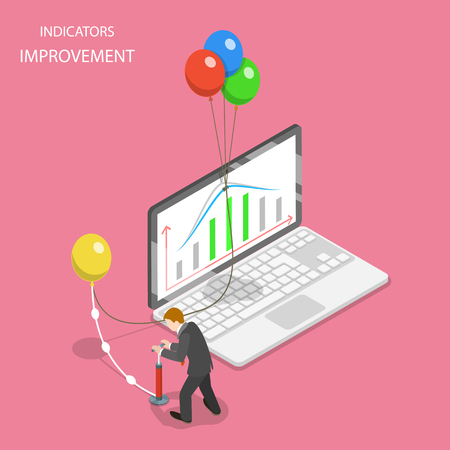 Isometric flat vector concept of indicators improvement, increasing efficiency, financial growth.