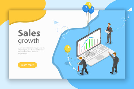 Isometric flat vector concept of financial growth, indicators improvement, increasing efficiency. Illustration