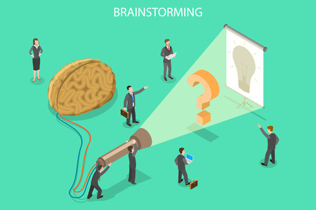 Isometric flat vector concept of brainstorming, creative idea, team work process, innovation and solution.