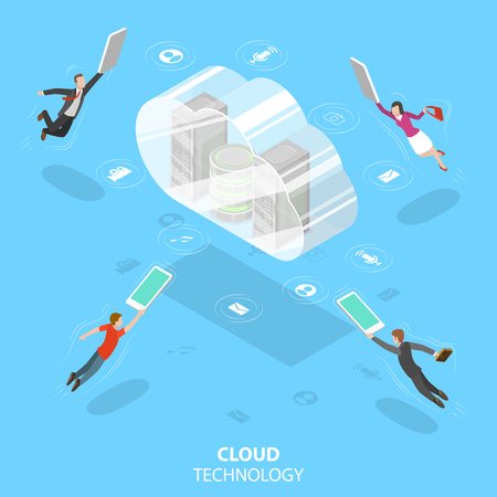 Isometric flat vector concept of cloud computing technology, data storage and hostiung, big data.