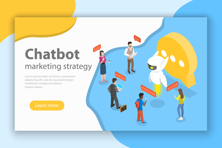 Chatbot markting strategy flat isometric vector concept. Banque d'images - 115522483