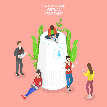 Personal voice isometric flat vector conceptual illustration. Stock Photo