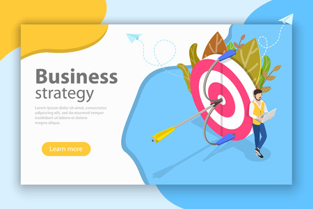 Business strategy isometric flat vector conceptual illustration.