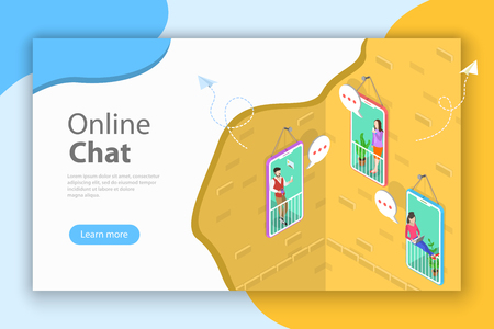 Online chatting flat isometric vector conceptual illustration. Stock Photo