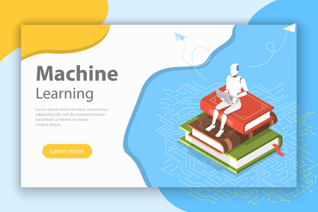 Machine learning isometric flat vector conceptual illustration.