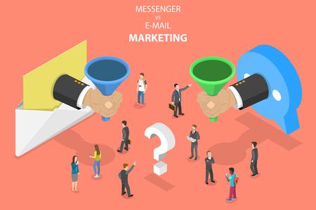 E-mail vs messenger marketing isometric vector concept. Stock Photo