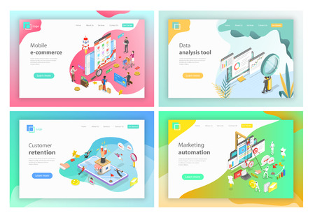 Isometric vector landing page headers for mobile e-commerce, data analysis tools, customer retention, marketing automation. Illusztráció