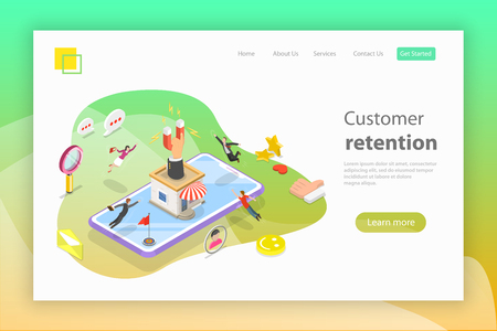 Flat isometric vector landing page header for retention strategy, attracting customer, client support.