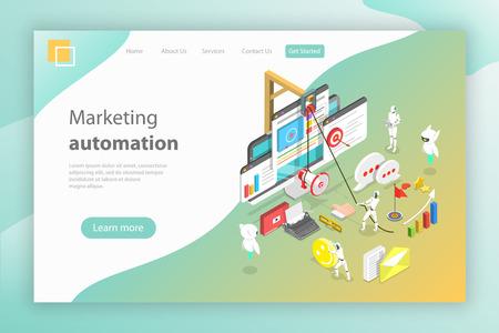 Isometrisches Vektorkonzept der digitalen Marketingautomatisierung, Ai, Chatbot.