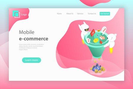 Flat isometric vector landing page header of chatbot sales funnel, ai, artificial intelligence, customer support, markting strategy. Illustration