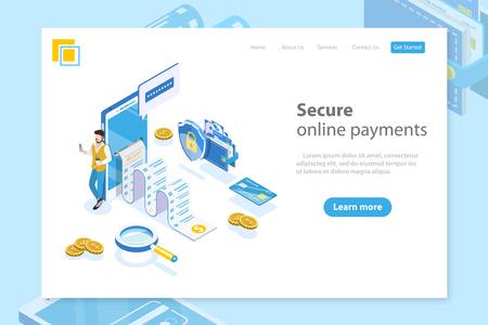 Flacher isometrischer Vektor-Landing-Page-Header für Online-Zahlung, Geldüberweisung, mobile Brieftasche, Quittung. Vektorgrafik