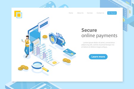 Flat isometric vector landing page header for online payment, money transfer, mobile wallet, receipt.
