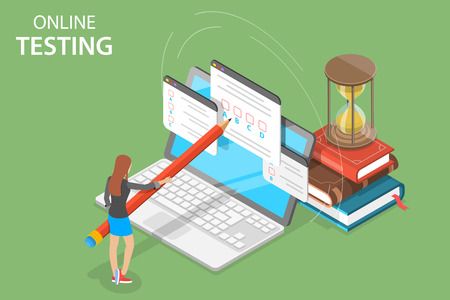 Concepto de vector plano isométrico de pruebas en línea, formulario de cuestionario, educación en línea, encuesta, examen de internet.