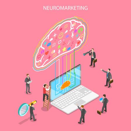 Isometrische platte vector concept van neuromarketing, digitale competitie, commerciële marketingstrategie, ai, kunstmatige intelligentie.
