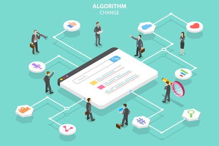 Isometric flat vector concept of algorithm change, search engine optimization, seo, digital marketing.