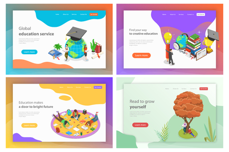 Isometric flat vector landing page templates for education, reading, knowledge.