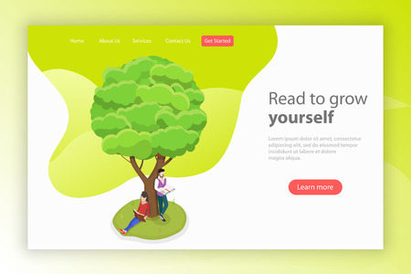 Read to grow yourself. Isometric flat vector landing page template. Ilustração