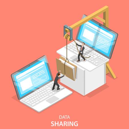 Concetto di vettore piatto isometrico del servizio di condivisione dati, social network, scambio di informazioni, trasferimento di file. Vettoriali