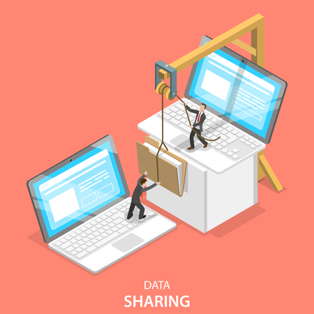 Isometric flat vector concept of data sharing service, social network, information exchange, file transfer.