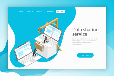 Isometric flat vector landing page template. Data sharing service, social network, information exchange, file transfer. Stock Illustratie