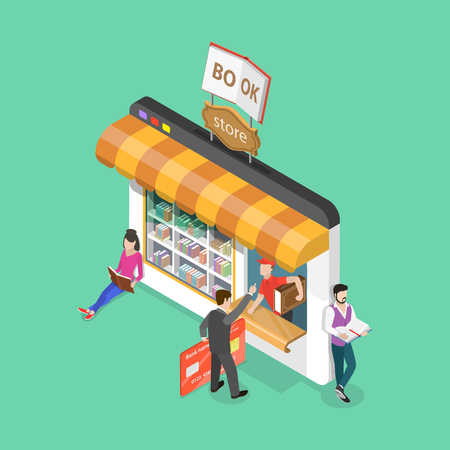Online book store isometric flat vector concept. Illustration