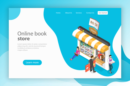 Isometric flat vector landing page template fo online bookstore.