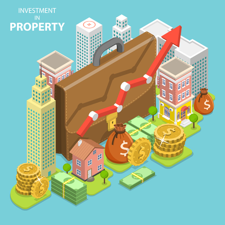 Isometric flat vector concept of investment in property, real estate deal, mortgage.