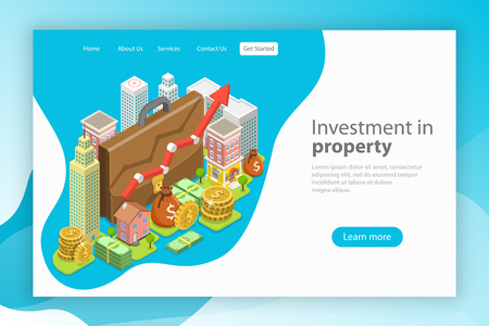 Isometric flat vector landing page template. Investment in property, real estate deal, mortgage. Vecteurs